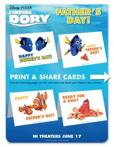 Disney/Pixar's Finding Dory swims into theatres June Fathers Day Wishes, Early Childhood Activities, Finding Dory, Theatres, Disney Crafts, Happy Father, You Are The Father, Happy Day, Disney Pixar