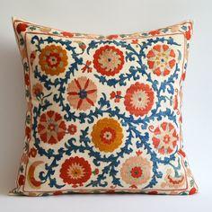 Sukan / Vintage Hand Embroidered Silk Suzani Pillow, Organic Modern Bohemian Throw Pillow.. $149.95, via Etsy.