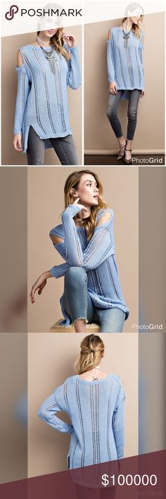 Robin egg blue soft light sweater- cold shoulder! LONG SLEEVE COLD SHOULDER SOFT AND THICK KNITTED SWEATER WITH SLIT ON THE SIDE, HI-LOW HEM LOOSE FIT TUNIC Sweaters