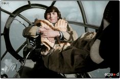 XI Flieger Film Korps photographer Erwin Seeger posing in the nose of a Heinkel-111 which was towing a Gotha Go-242 transport glider between Sicily and Tunisia. c.1942/43 (Source: Ecpad) (Colourised by Doug)