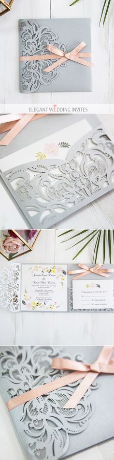 romantic grey laser cut wedding invitation with shimmer blush pink ribbon