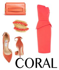 """""""Coral"""" by takeabreaath ❤ liked on Polyvore featuring Jimmy Choo, Roland Mouret and Chloé"""