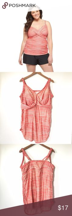 "Ava & Viv Twist Tankini in Coral/White Stripe A1 Bust: 21"" Length: 30""  Lightly padded; Adjustable straps  Condition: No Rips; No Stains  82% Nylon 18% Spandex   📦Orders are shipped within 24hrs! {Except weekends}📦  🚫No Trades🚫No Holds🚫 Ava & Viv Swim Bikinis"