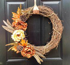 Fall Wreath- Thanksgiving Wreath- Peony Wreath- Autumn Wreath on Etsy, $50.00