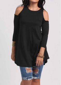 Round Neck Black Three Quarter Sleeve Blouse on sale only US$23.97 now, buy cheap Round Neck Black Three Quarter Sleeve Blouse at lulugal.com