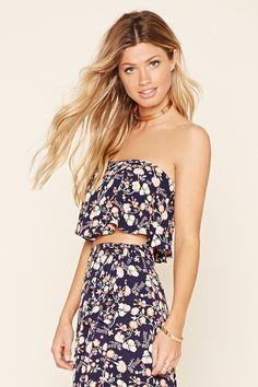 Flounced Floral Crop Top | Forever 21 - 2000220538