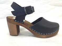 Black oiled Dalanna on a brown super high heel by ChameleonClogs