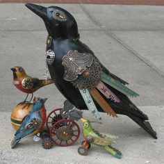 The vintage bird collection, designed by Jim Mullan, was inspired by his fascination with birds and antique objects. The crows were used as hunting decoys in the 30's and 40's and the smaller birds were carved in the 1950's. The original decoys were passed on to Jim in 1991 and just recently he has turned each into an eclectic, one of a kind piece of art. You can see Jim's lively sense of humor in each one of his creations.