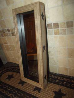 Primitive Crackle Tan & Black Stars Wood Framed Mirror ~ Country Farm Decor #NaivePrimitive
