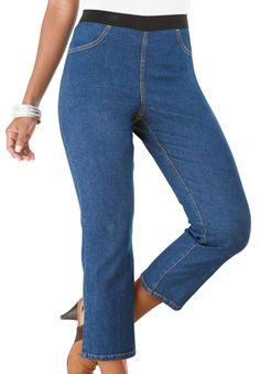 26c37f2b04a Super Stretch Denim Capri Leggings With Ultimate Fit Waistband By Denim 24 7