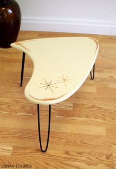 Booma end Coffee Table - Kustom Pin Stripe Mid Century