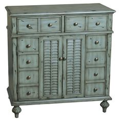 Merrimack Accent Chest. Great gray-blue. Get this look with General Finishes's new Persian Blue Milk Paint distressed and glazed with Van Dyke Brown, www.GeneralFinishes.com.