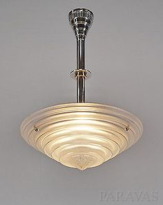 LELEU : FRENCH 1935 ART DECO CHANDELIER  opalescent pendant modernist lamp lampe