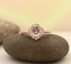 AAA Morganite Engagement Ring Diamond Wedding Ring by GNGJewel