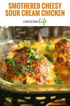 Smothered Cheesy Sour Cream Chicken: Fast, easy, delicious baked chicken dish that the whole family will LOVE! 10 min prep time & the oven takes care of the rest! Easy Healthy Recipes, Easy Dinner Recipes, Baked Chicken, Chicken Recipes, Sour Cream Chicken, Nutritious Snacks, Turkey Dishes, Breast Recipe, Casserole Recipes