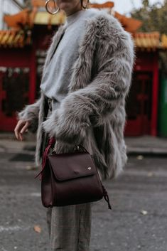 Zara light grey faux fur coat, grey sweater, check printed baggy trousers, wide leg pants, how to wear high waisted check printed trousers, vichy, snake print ankle boots, heeled snakeskin boots, how to wear snake skin ankle boots, trending in winter, isla fontaine burgundy ladybug bag, dark red leather bag, news boy cap, baker boy hat, military inspired hat, andreea birsan, couturezilla, cute fall and winter outfit ideas 2017, what to wear to school and work in winter, the best way to wear