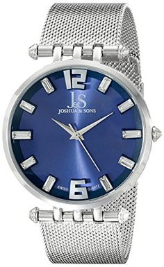 Men's Wrist Watches - Joshua  Sons Mens JS90BU Silver Swiss Quartz Watch With Blue Dial and Silver Mesh Bracelet ** You can find out more details at the link of the image.