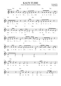 icu ~ Pin on Bollywood Sheet Music Books for Piano ~ - Lag ja gale song sheet music notes in western format with full lyrics chords and full music Keyboard Sheet Music, Free Violin Sheet Music, Saxophone Sheet Music, Sheet Music Notes, Music Sheets, Piano Music, Guitar Tabs For Beginners, Piano Lessons For Beginners, Violin Songs