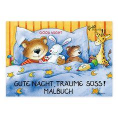 """Mit dem Mini-Malbuch """"Gute Nacht"""" von Annett Rudolph kann Ihr Kind entzückende Tierfreunde in den Schlaf schicken. https://www.graetz-verlag.de/mini-malbuch-gute-nacht"""