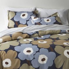 Marimekko Unikko Dusk Bed Linens in Duvet Covers | Crate and Barrel