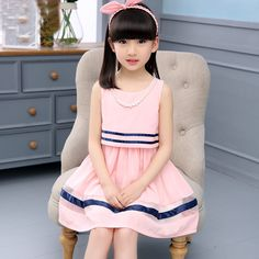 Girls summer dress 2016 new children's clothing summer style kids pink chiffon dresses big girl thin princess dress 6-14 years