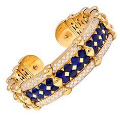 Bvlgari gold diamond and sapphire bracelet. Circa 1980s