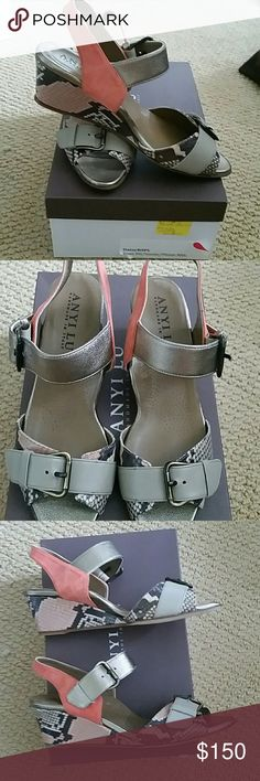 Anyi  Lu wedge sandals Platinum patent,coralsuede and rose pit one wedge sandal gorgeous and comfy Anyi Lu Shoes Wedges