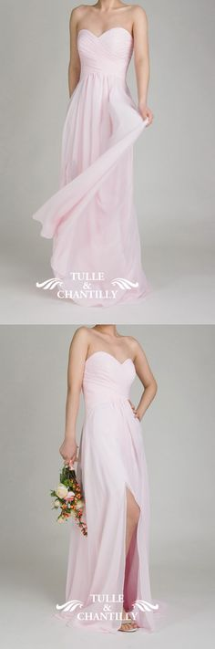 pink sweetheart neckline chiffon bridesmaid dress with slit
