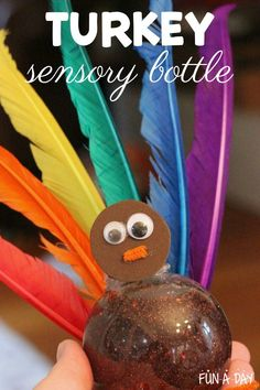 Make a Thanksgiving sensory bottle! It's fun and easy to make, and great to have on-hand when a calming moment is needed during the holidays. We always love glittery sensory jars! Thanksgiving Preschool, Thanksgiving Turkey, Early Learning Activities, Preschool Activities, Calming Jar, Enchanted Learning, How To Make Turkey, Sensory Bottles, Preschool Lesson Plans