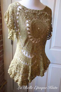 Asymmetrical top handmade crochet top crochet designer top