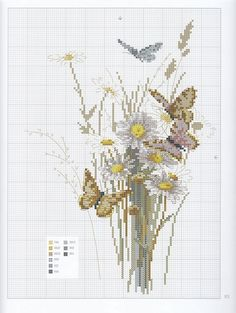 Cross stitch pattern. Flower. Meadow flower bouquet. Daisies. Butterfly.
