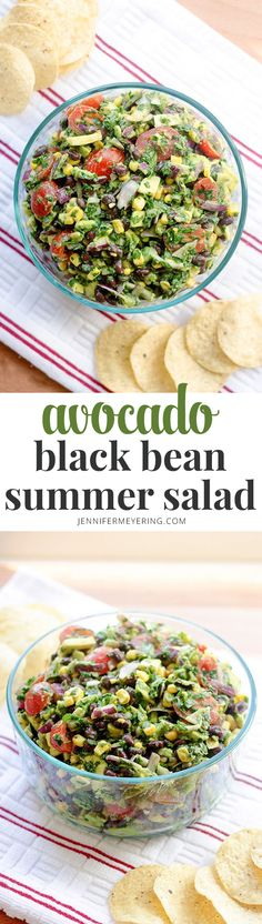 Corn Avocado Black Bean Summer Salad - Delicious summer salad made with corn, black beans, tomatoes, and avocado that is perfect at your next gathering!