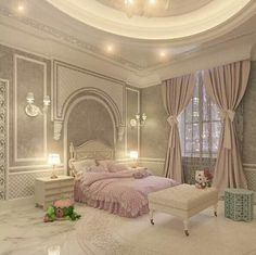 #neo-classical style decor I love the walls and ceiling. Not crazy about bedding