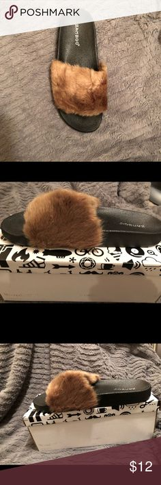 Faux fur slippers Brown faux fur slippers BAMBOO Shoes Slippers