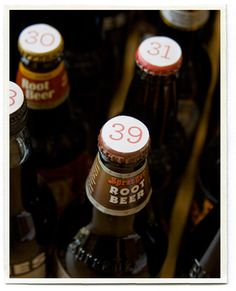 """Great idea for an """"over the hill"""" party--number the bottlecaps for how old the birthday boy is! #birthday #rootbeer #bottlecap"""