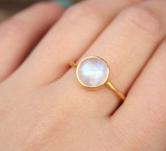 Rainbow Moonstone Ring  Round  Vermeil Gold Stacking by OhKuol