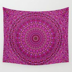 Hot Pink Floral Mandala Wall Tapestry by David Zydd Mandala Tapestry, Wall Tapestry, Chakras, Zentangle, Design Tattoo, Mandalas Drawing, Wall Decor, Wall Art, Tattoo