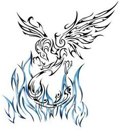 Tribal Phoenix Tattoos Designs. Don't care for the blue flames but the rest of the design is very nice.