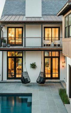 Cadeira White Exterior Houses, House Paint Exterior, Modern Exterior, Exterior Design, Home Design Decor, House Design, Future House, My House, My Dream Home