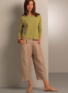Purchased 1/26/17. V8499 | Vogue Patterns. Very loose-fitting through hipline skirt with elasticized waist casing, back zipper closing, side-front deep pockets, above ankle length. Pull-up pants, above-ankle length, have side-front pockets & topstitch trim. FABRICS: Skirt A: Stretch Woven, Double Knits & Silk Dupioni. Pants B, C: Linen, Stretch Denim & Silk Jacquard.