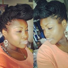 Box braid mohawk or pompadour, which ever you prefer. I call it cute!