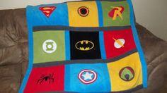 Custom Made Superhero Super Hero Comic Fleece Applique Lap Size Quilt Blanket