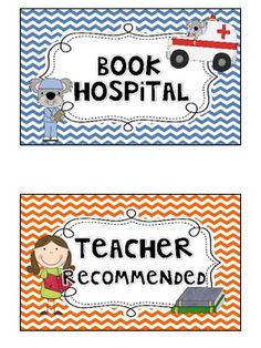 """Book Hospital"" label - I always joke that torn pages in books need ""paper surgery,"" which would make this super cute!"