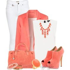 Coral & White Outfit