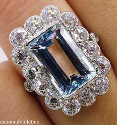 GIA 9.17ct Antique Vintage Art Deco Aquamarine Diamond Cluster