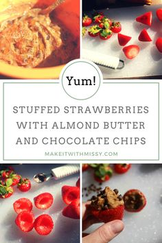Stuffed strawberries with almond butter and chocolate chips are the ultimate treat if you're searching for paleo desserts, gluten-free desserts, desserts with strawberries, recipes without refined sugar, dairy free desserts, or stuffed strawberry recipes. Enjoy!