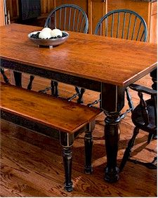 Farmhouse Table With Matching Bench Very Nice But I Prefer Distressed Green Legs