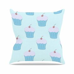 KESS InHouse NL1052AOP03 18 x 18-Inch 'NL Designs Blue Cupcakes Pastel Food' Outdoor Throw Cushion - Multi-Colour * You can find more details by visiting the image link. (This is an affiliate link) #GardenFurnitureandAccessories