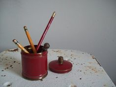 Antique cigarette tin Chase Brass 1930s original red paint brass finial