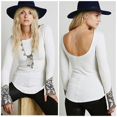 Free people thermal Free people thermal top with embroidered cuff detail and hook & eye closures . Scoop back fitted and  stretchy . Looks amazing in person . Free People Tops